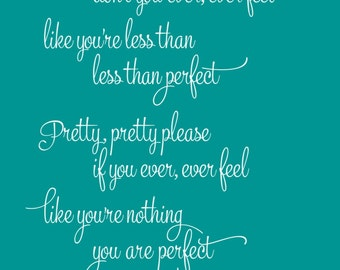 Pink - Perfect - Song Lyrics Print