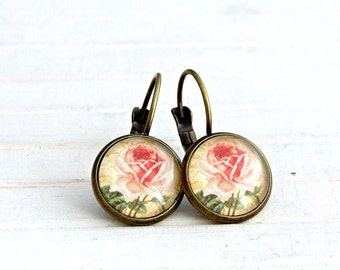 Pink Rose Earrings .. rose earrings, flower earrings, dangle earrings, cottage chic earrings