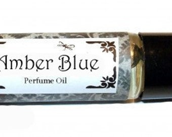 AMBER BLUE- Roll on Premium Perfume Oil - 2 sizes to choose from - 1/3 oz or 1/6 oz -   Rose Peony Sandalwood