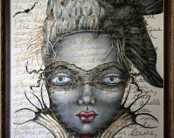 Paris France Marie Antoinette Masquerade Acrylic Painting on Canvas French Guillotine Queen