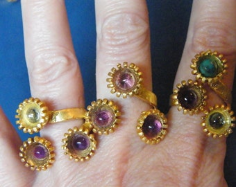 Gemstone Rings! Blue Topaz, Turquoise, Amethyst Cabochons, Triple Set, Gold, Adjustable Rings! FREE U.S. SHIP! Birthday Gifts, Holiday Gifts