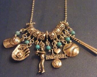 Baseball Charm Necklace! I Love Baseball, Turquoise Beaded, Charm Necklace! OOAK! Female Baseball Player Charm! Birthday Gift, Gift for Her
