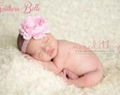 Baby headband, newborn headband, flower clip - LIGHT PINK ruffle ranunculus flower headband or clip