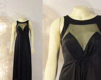 Vintage Nightgown Black Satin Illusion Blanche Ralph Montenero Size Small  to Medium