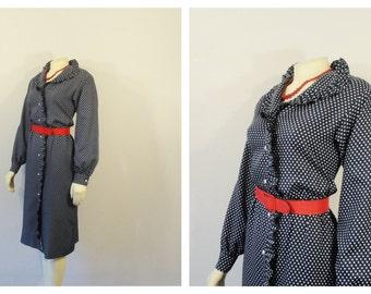 Vintage Dress 40s Style Polka Dot Dress Navy Blue and White Polka Dots Ruffle Collar Long Sleeve Dress Modern Size Medium