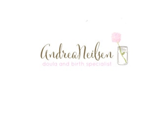 Custom Logo Design Premade Logo and Watermark for Photographers and Small Crafty Boutiques Hand Drawn Mason Jar with Watercolor Flower