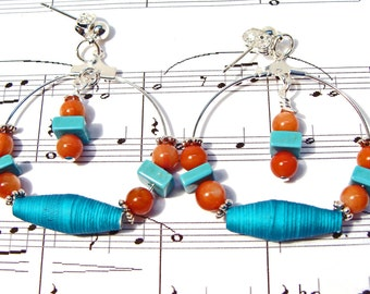 Southwestern Cowgirl Chic Hoop Earrings with Handmade Turquoise Paper Beads
