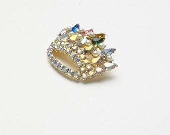 Vintage Multi Colored Tear Drop Pearl Rhinestone Costume Jewelry Jeweled Crown Brooch Pin on Etsy