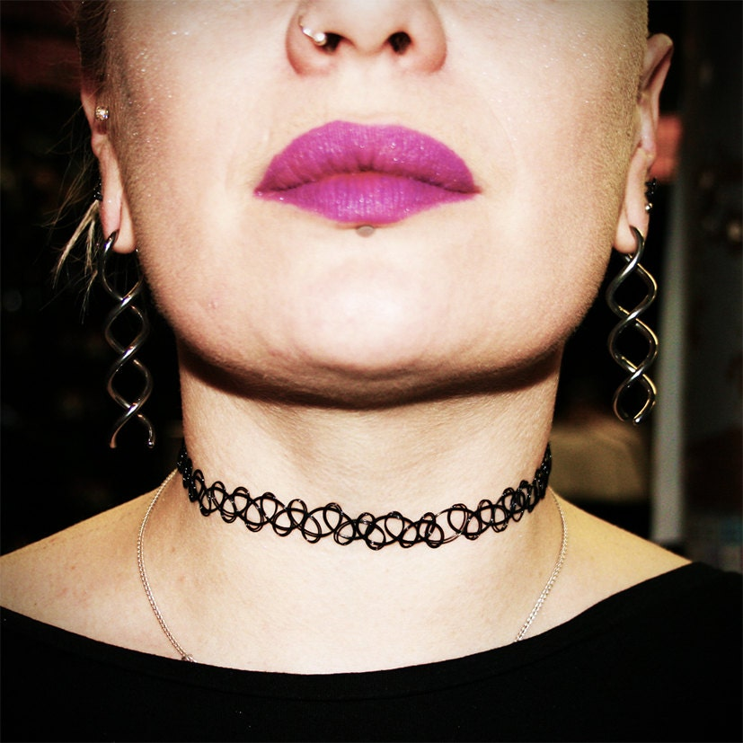 Grunge black 90 39 s tattoo choker stretchy by extremelargeness for Black tattoo choker