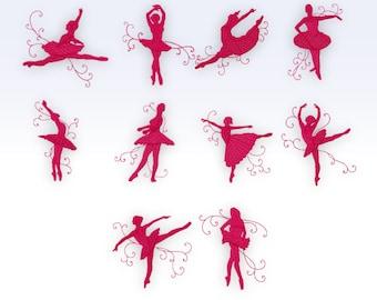 Ballerina - Machine Embroidery Designs -  Shadow Ballerinas - Textured - Set of 10
