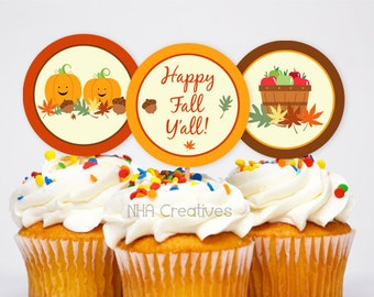 Fall Cupcake Toppers Etsy