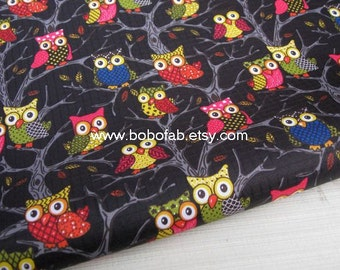 "3246A  - 1 yard Vinyl Waterproof Fabric - Cartton -Owls on the tree (Black) - 57""x36"""