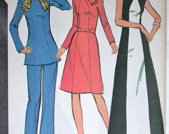 "McCalls Dress Pattern No 3411 UNCUT Vintage 1970s Size 12 Bust 34"" Maxi Mini Dress Long Sleeves Sleeveless Tunic Pants A Line Back Zipper"