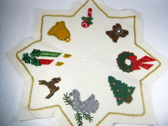 Small vintage christmas tree skirt sequined white felt