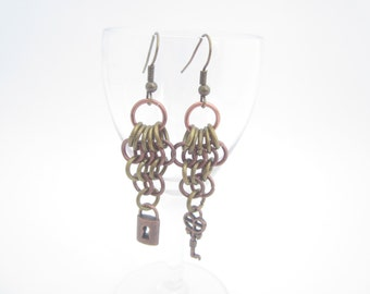 Distressed Brass and Copper Chainmaille Earrings with Key and Lock Charms