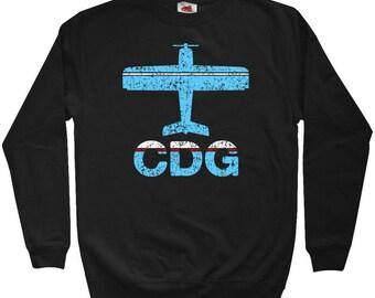 Fly Paris Sweatshirt - CDG Airport - Men S M L XL 2x 3x - Crewneck Paris France Shirt - 3 Colors