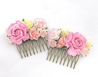 Matching haircombs with pink roses Floral  Vintage Wedding Bridal Bridesmaid Accessory