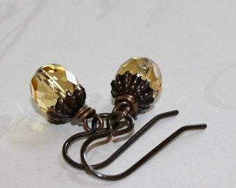 Glass Acorn earrings, Woodland Earrings, Rustic earrings, Fall accessory