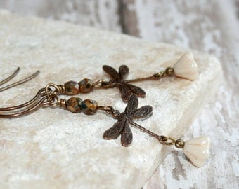 Dragonfly Earrings // Vintaj brass dragonfly dangle earrings // Woodland Jewelry // Rustic