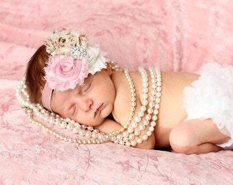 Vintage Shabby Chic Trio Headband...Baby Bows...Vintage Look...Photo Prop Headband... Shabby Rosette Headband...Baby Girl Headband