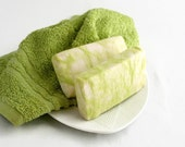 White Gardenia Flowers Soap, Olive Oil Soap, Felted Soap, Green Soap, Cold Process Soap, Sunflower Oil Soap, Bar Soap, Homemade Bath Soap