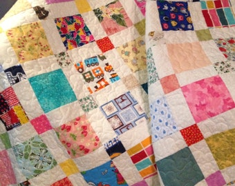 "A Bright and Fun 48.5"" X 67.5"" Scrap Happy Quilt"
