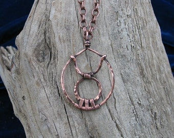 Taurus Hand Sculpted, Wire Wrapped Copper Astrological Sign Pendant - READY TO SHIP
