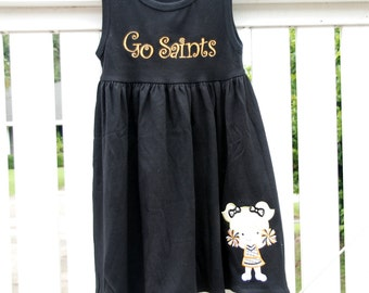 Cheerleader,New Orleans Saints Applique  Sleeveless Monag Empire Waist Dress