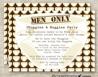 Diaper Party, Men Only, Baby Shower Invitations, Chuggies and Huggies, Man Baby Shower, Dad and Diapers, Printable, Personalized- 174962306