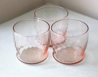 Vintage Pink Rocks Glasses/ Juice Glasses Rose Colored Striped/ Swirl Patterned Glasses