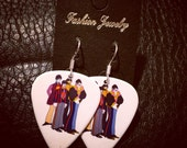 The Beatles Yellow Submarine Guitar Pick Earrings Sterling Silver Hooks