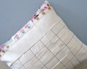 Cream and floral padded patchwork cushion cover,pillow sham,throw pillow cover.Envelope style.16x16 inches