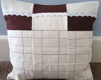 Beige and cream padded patchwork linen cushion cover,pillow sham,throw pillow cover.Envelope style.16x16 inches