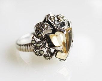 Vintage Citrine Marcasite Ring / Sterling Silver / Size 6 1/2