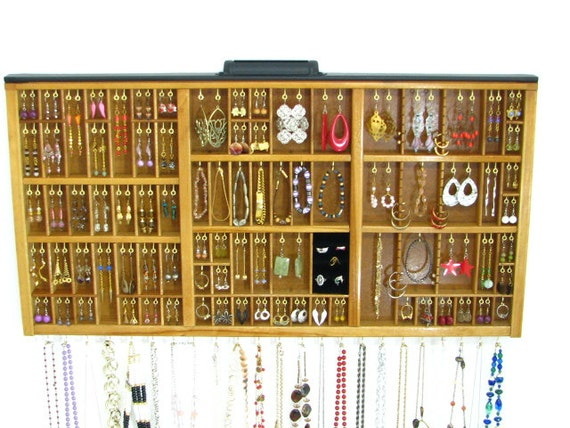 Jewelry Display antique printer drawer with stud slots and a ring cubby