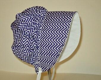 Baby Bonnet - Baby Sun Hat - Baby Sun Bonnet - Summer Hat - Baby Hat - Purple Chevron Baby Bonnet - Baby Cap - Toddler Hat - Made To Order
