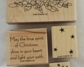 Wondrous Gift  Stampin' Up set of 6 wood mounted rubber stamps
