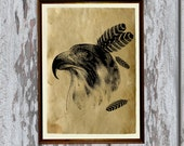 Tribal bird poster Native American Falcon print Wild West decor  AK141