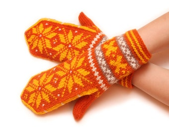 Traditional patterned mittens - orange mittens, yellow pattern, traditional mittens, warm winter mittens, warm mittens, snowflake pattern