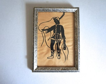 "Vintage Handmade Paper Cut Out Black Cut Out with Silver Wooden Frame 6.5 x 9""- Floyd Jones Vintage"