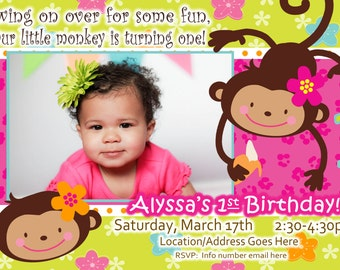 Monkey Love - Birthday Photo Invite - 1 year old 2 years old Party Invitation Card - Girl Flower - 2 Options Available - Mod Monkey