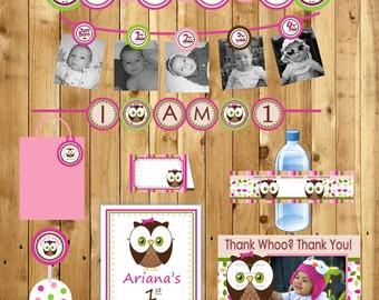 1st birthday package Owl Birthday Party Package Girl Look Whoos turning 1 Owl thank you tags 3 banners water bottle labels - (DIY Printable)