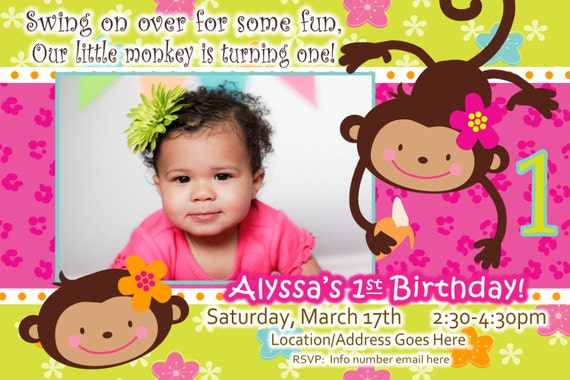 monkey love birthday photo invite  year old  years old, 1 year old baby birthday invitation card, 1 year old baby boy birthday invitation card, 1 year old baby invitation card