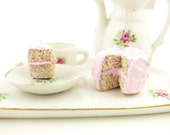 Pink Cake Dollhouse Miniature Polymer Clay Dessert 1-Inch Scale Doll Food