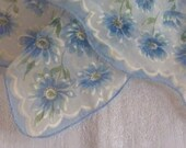 Blue Floral Handkerchief Sheer Chiffon Hankie Hanky Wedding Birthday