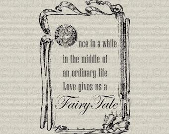 Fairy Tale Art Fairytale Art Wedding Art Wall Decor Art Printable Digital Download for Iron on Transfer Fabric Pillow Tea Towel DT1058