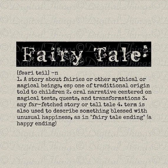 fairy tale definition word art typography wall decor art
