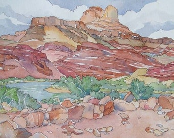The Ruins at Unkar in the Grand Canyon - Small Print of Southwestern Desert Pueblo Ruins