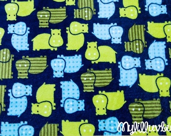Minky fabric by the yard- Robert Kaufman Urban Zoologie Hippo cuddle midnight- Hippo minky fabric- one yard