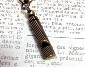 "Vintage Bronze Whistle Necklace, 20"""
